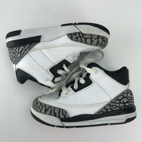 bd9165a091c ... denmark jordan retro 3 toddler shoes white black gray sz 6 a87d6 d97f8